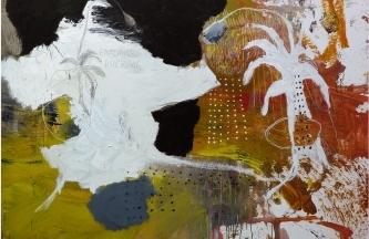 Composición para dos plantas con flor,Óleo y acrílico sobre lienzo 170x200cm2019