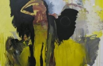Mujer con cabeza de planta,Óleo y acrílico sobre lienzo,170x150cm2019