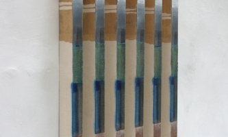 REF 1082. IDENTICAL PAINTINGS 2011. Sequence of 6 units. 90 x 5 x 7 cm unit. Mixed media on canvas on wood.