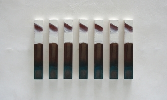 REF 1091. IDENTICAL PAINTINGS 2011. Sequence of 7 units. 48 x 7 x 5 cm unit. Mixed media on canvas on wood.